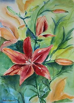 Tiger Lily still life in watercolor by Geeta Biswas