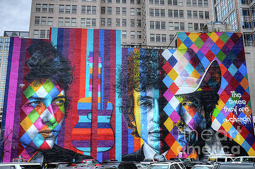 Times They Are A Changing Giant Bob Dylan Mural Minneapolis Fine Art by Wayne Moran