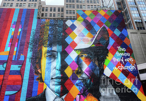 Times They Are A Changing Giant Bob Dylan Mural Minneapolis Getting Older by Wayne Moran