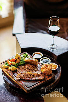 Traditional British English Sunday Roast Beef With Vegetables Cl by Jacek Malipan