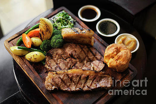 Traditional British English Sunday Roast Beef With Vegetables Me by Jacek Malipan
