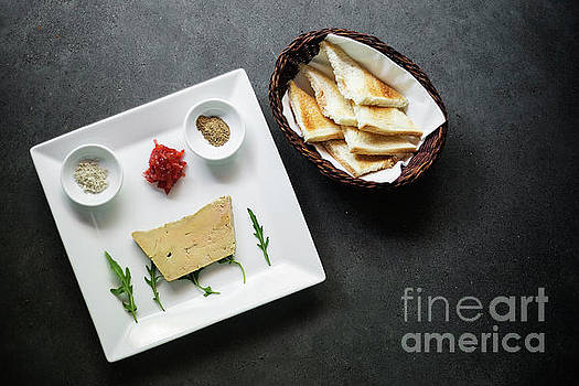 Traditional French Foie Gras Pate And Toast Starter Snack Platte by Jacek Malipan