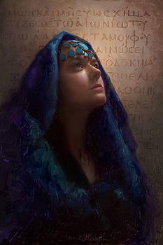 Transformation - Woman with Romans 12 2 Written in original Greek  by Karen Whitworth