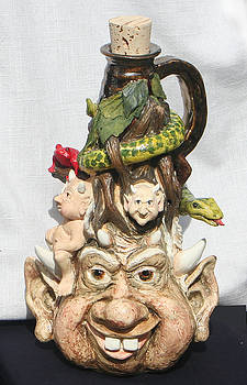 Tree Gnome face jug by Lauren  Marems
