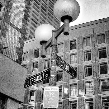 Tremont and Court St Urban Black and White Boston Lamp Post by Joann Vitali