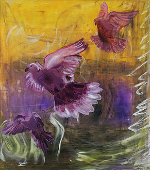 Trinity of Contemporary Flying Dove Birds in Yellow Purple and Blue by MendyZ M Zimmerman