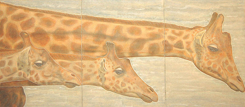 Triptych giraffes general view by Isabelle Ehly