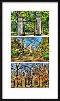 Triptych of Princetons front entrance summer and fall by Geraldine Scull