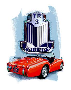 Triumph TR-3 Red by David Kyte