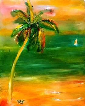 Tropcal Sunset with Sailboat by Patricia Taylor