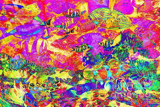 Wingsdomain Art and Photography - Tropical Coral Reef Fish In Abstract 20160923