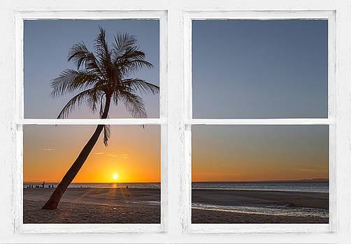 Tropical Paradise Morning Sunrise Whitewash Window View by James BO Insogna