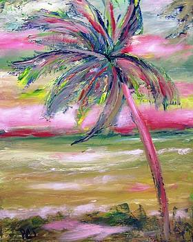 Patricia Taylor - Tropical Sunset in Pink with Palm Tree