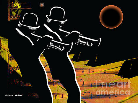 Trumpeteer Duo by Sharon K Shubert
