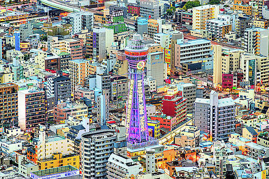 Tsutenkaku Tower in Shinsekai district - Osaka - Japan by Luciano Mortula