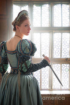 Tudor Woman At The Window Holding A Dagger by Lee Avison