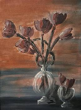 Tulip flowers bouquet in two round water filled small globe shaped vases on a table still life of bo by MendyZ