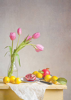 Tulips and Fruit by Colleen Farrell