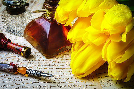 Tulips And Ink Well by Garry Gay