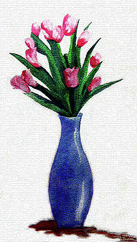 Tulips in a Tall Vase by Farah Faizal