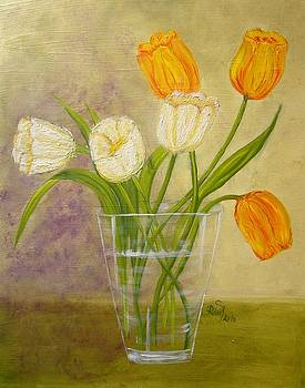 Tulips in a vase by Beata Rosslerova