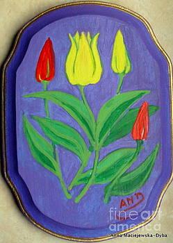 Tulips on Wood by Anna Folkartanna Maciejewska-Dyba