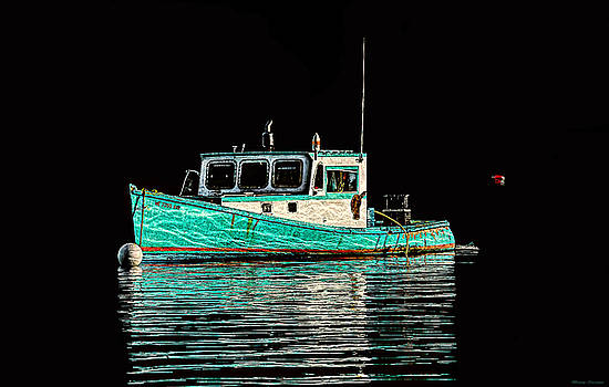 Turquoise Lobster Boat At Mooring by Marty Saccone