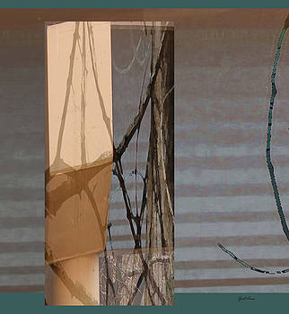 Turquoise Scroll and Rigging of Branches on Sailboat by Gretchen Wrede