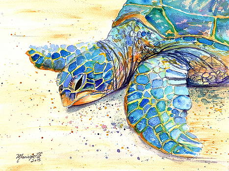 Turtle at Poipu Beach 4 by Marionette Taboniar