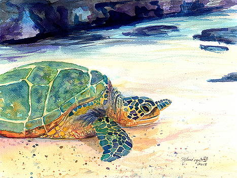 Turtle at Poipu Beach 5 by Marionette Taboniar