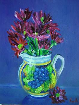 Tuscan Elements - Italian Pitcher with Flowers - Virgilla Art by Virgilla Lammons