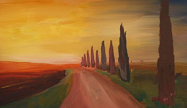 Tuscany Alley Way with Cypress at Dusk by M Bleichner