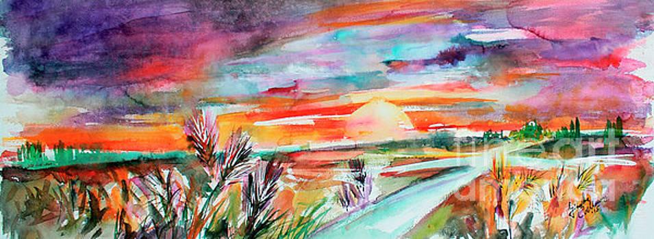 Ginette Callaway - Tuscany Landscape Autumn Sunset Fields of Rye