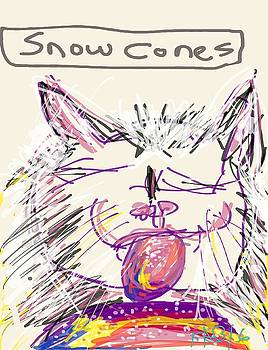 Tuti-fruti Snowcone Kitty by Kathy Barney