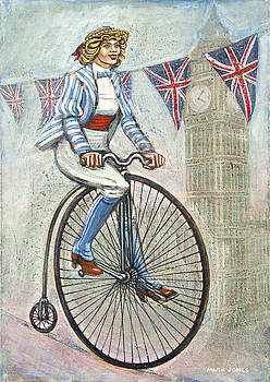 Tweed Run Lady in blue on Penny Farthing  by Mark Howard Jones
