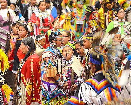 Tweens At Grand Entry by Clarice  Lakota