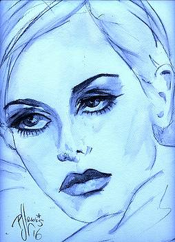 Twiggy in blue by P J Lewis