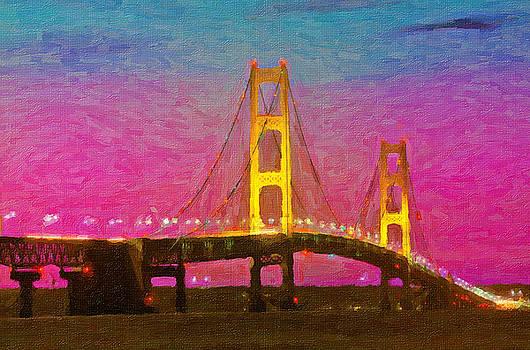 Twilight Bridge Mackinaw Bridge by John Farr