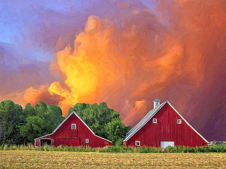 Dominic Piperata - Two Barns at Sunset