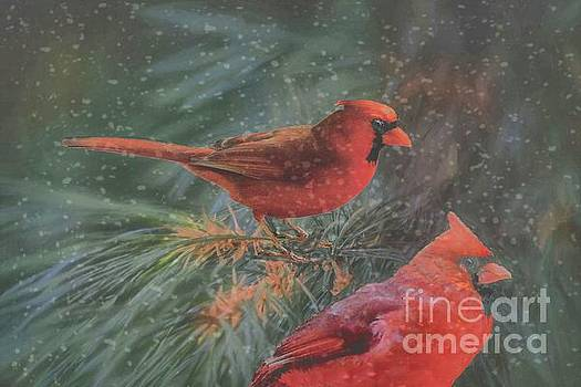 Two Northern Cardinals in Snowstorm by Janette Boyd