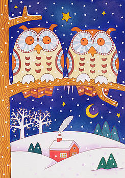 Cathy Baxter - Two owls on a branch