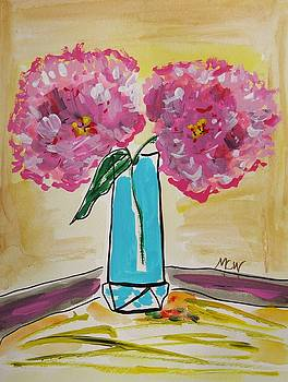 Two Pink Peonies by Mary Carol Williams
