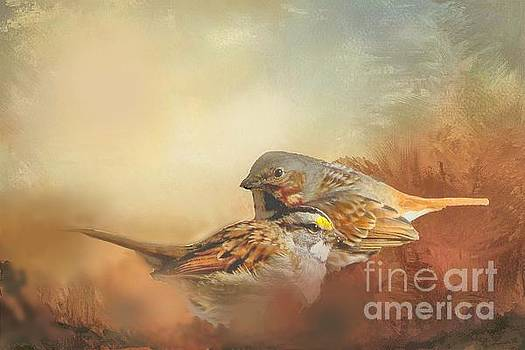 Sparrows in the Marsh 2 by Janette Boyd