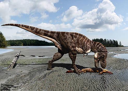 Tyrannosaurus enjoying seafood by Julius Csotonyi