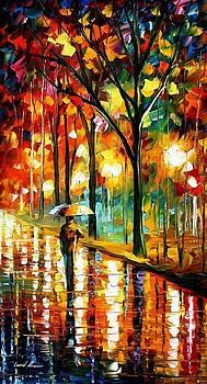 Under Umbrella 2 - PALETTE KNIFE Oil Painting On Canvas By Leonid Afremov by Leonid Afremov