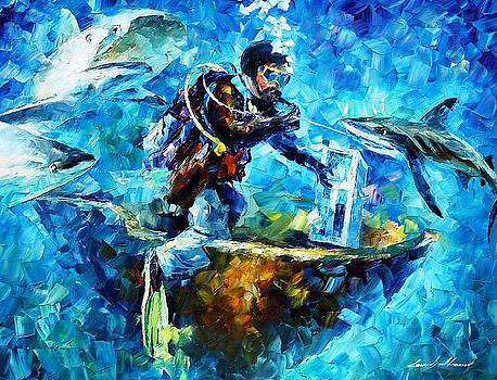 Under Water - PALETTE KNIFE Oil Painting On Canvas By Leonid Afremov by Leonid Afremov