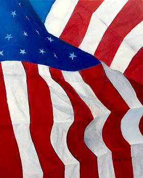 Unfolding Flag Lady Liberty by Trish Bilich
