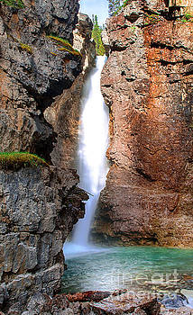 Upper Falls in Johnston Canyon - Banff National Park by Yefim Bam