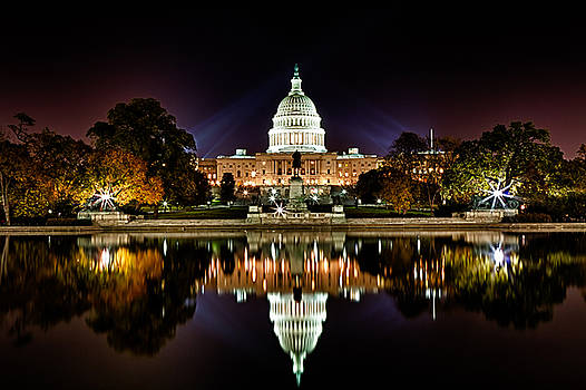 Val Black Russian Tourchin - US Capitol Building and Reflecting Pool at Fall Night 1