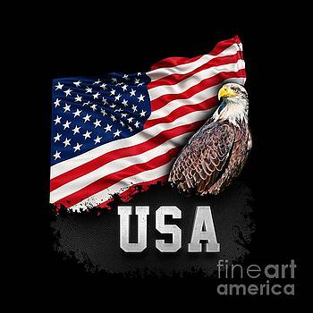 USA Flag with Bald Eagle 4th of July by Carsten Reisinger